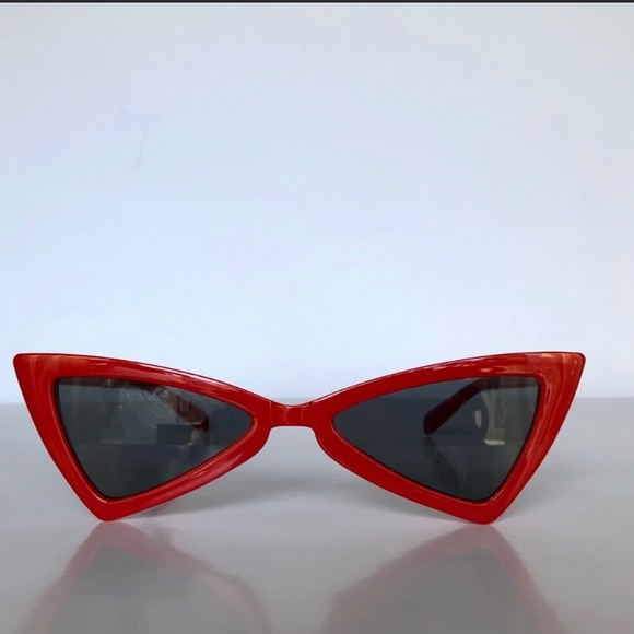 2a8d2541b9 Red Slim Cat Eye Triangle Vintage Glasses
